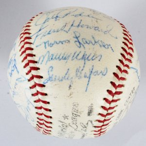 1960 Dodgers Team-Signed Baseball - Sandy Koufax, etc. - COA JSA