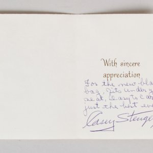 Casey Stengel Signed Greeting Card Mets - COA JSA