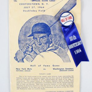 Casey Stengel Signed 1964 Cooperstown Hall of Fame Score Card - COA JSA