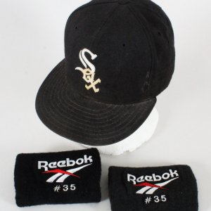 Frank Thomas Game-Worn Cap and Arm Bands White Sox - COA 100% Authentic Team