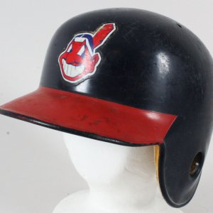 Albert Belle Game-Used Batting Helmet Indians - COA 100% Authentic Team & Team Stamping