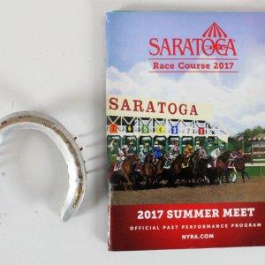 Voodoo Song Race-Worn Horeshoe Saratoga and Program COA 100% Authentic Team