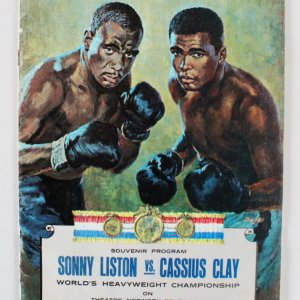 Sonny Liston vs. Cassius Clay Boxing Program 1964 First Fight Closed Circuit