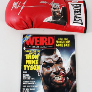 Mike Tyson Signed Boxing Glove w/ Magazine - COA PSA DNA