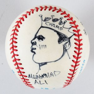 Muhammad Ali Baseball w/ Bill Gallo Portrait Art- COA JSA