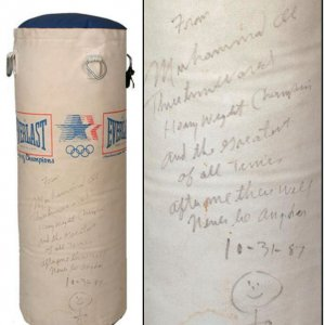 Muhammad Ali Signed Boxing Bag Olympic Model - COA PSA/DNA