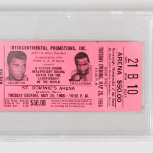 1965 Muhammad Ali vs. Sonny Liston Boxing Full Ticket Graded - PSA