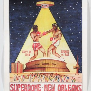 Muhammad Ali vs. Leon Spinks Fight Poster On-Site