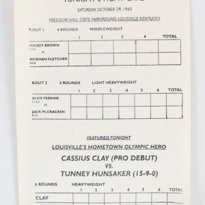 Cassius Clay vs. Tunney Hunsaker First Professional Fight Card Program 1960