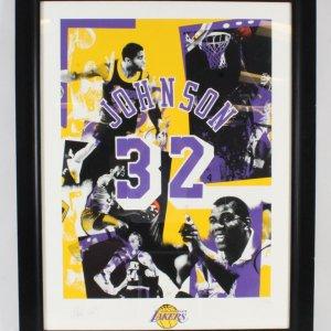 Magic Johnson Signed Litho Lakers - COA JSA