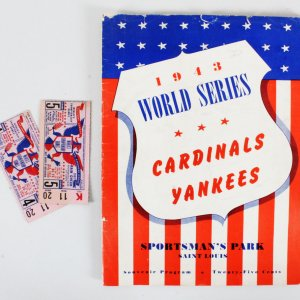 1943 World Series Program + 2 World Series Ticket Stubs Game 4,5