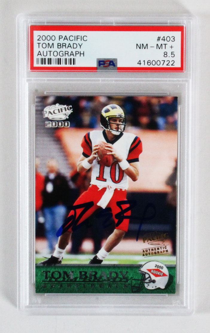 2000 Pacific Tom Brady Rookie Card Signed Rc Auto 200 Graded Psa 85