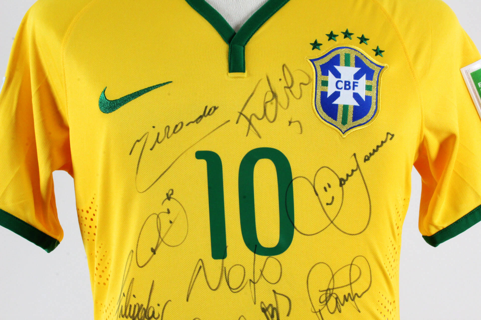 26a7d57dfb3 Neymar Game-Worn Brazil Jersey 2014 World Cup Team Signed – COA JSA