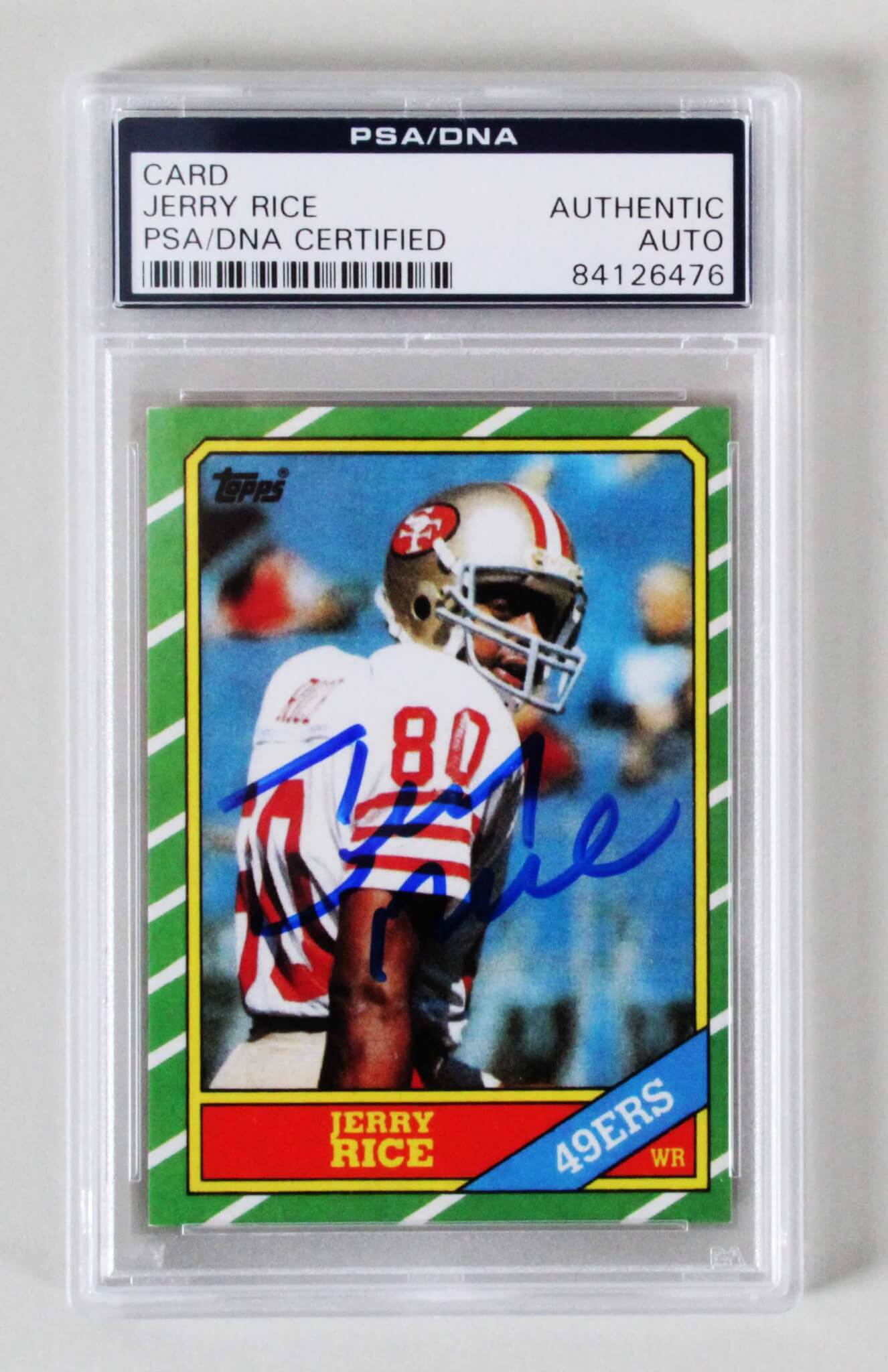 165d74e5b Jerry Rice Signed Rookie Card 1986 Topps #161 RC 49ers – COA PSA/DNA ...