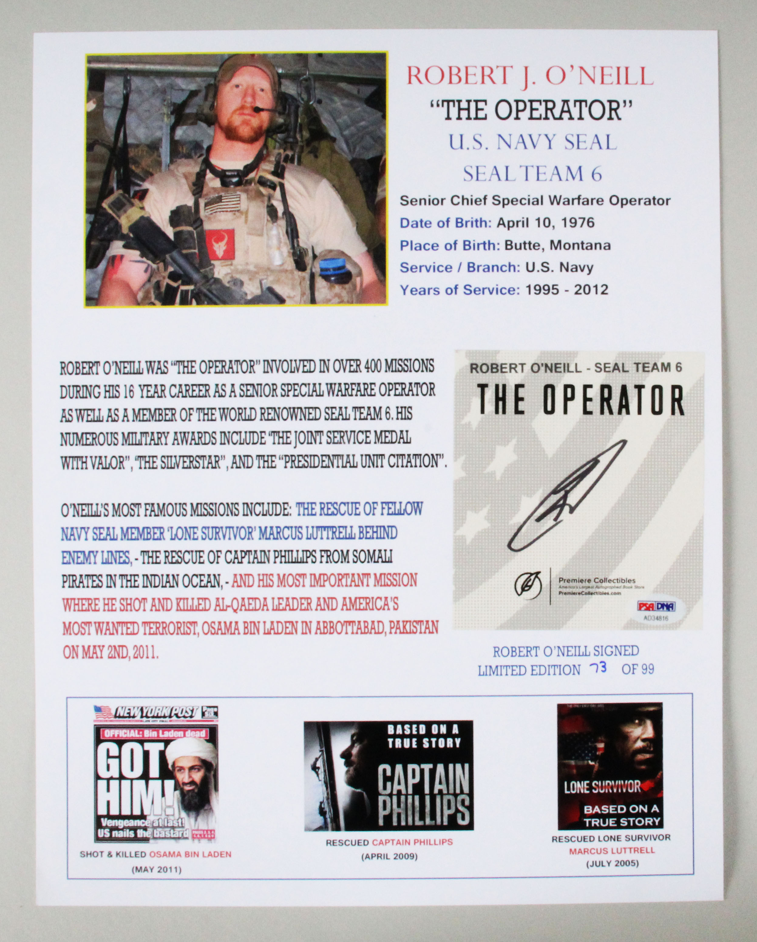 Robert O'Neill Signed Poster Seal Team 6 – COA PSA/DNA