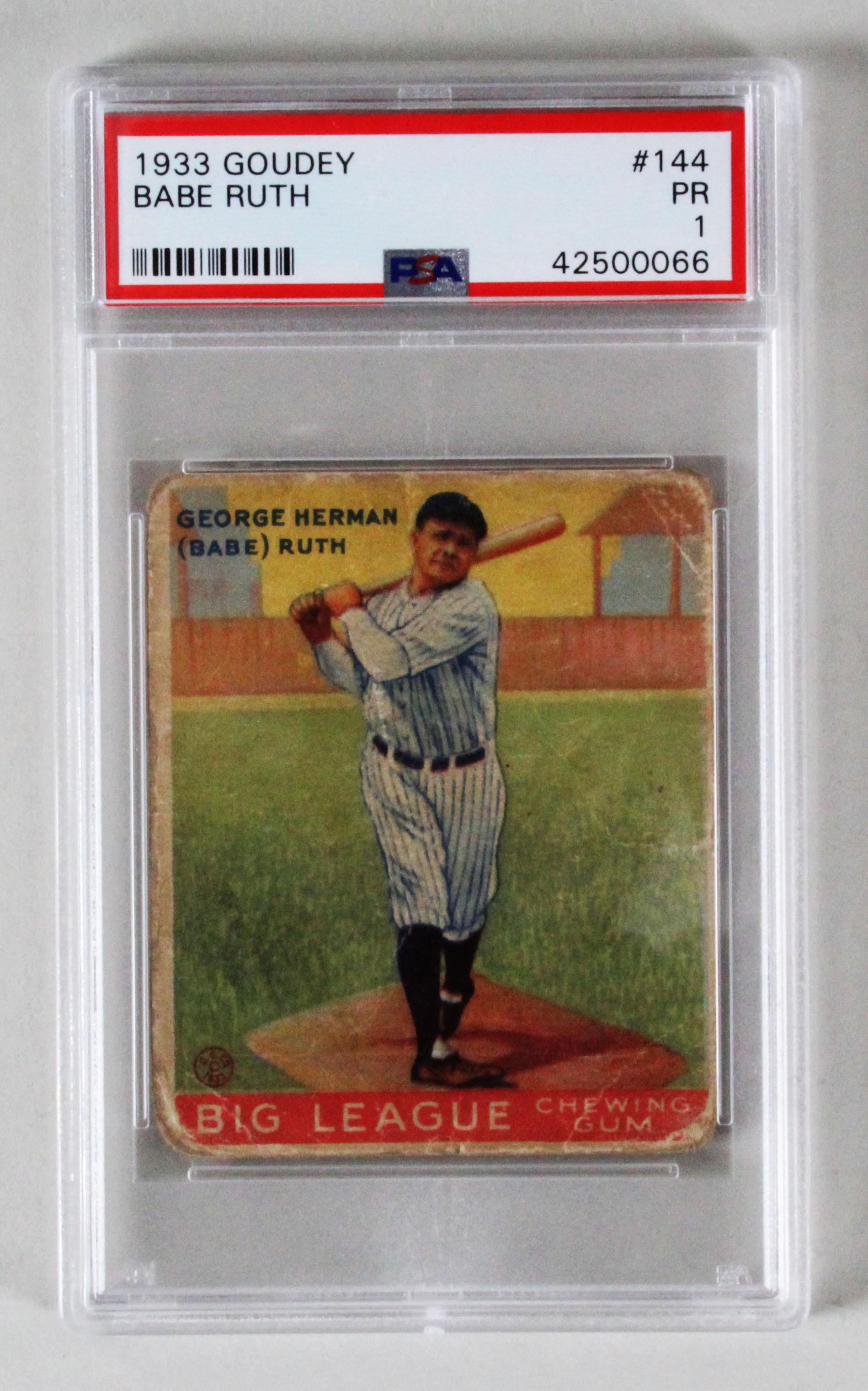1933 Goudey Babe Ruth Baseball Card Graded 144 Psa Pr 1
