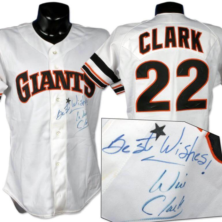 huge selection of 512e0 cace6 1989 Will Clark Game Worn Jersey.