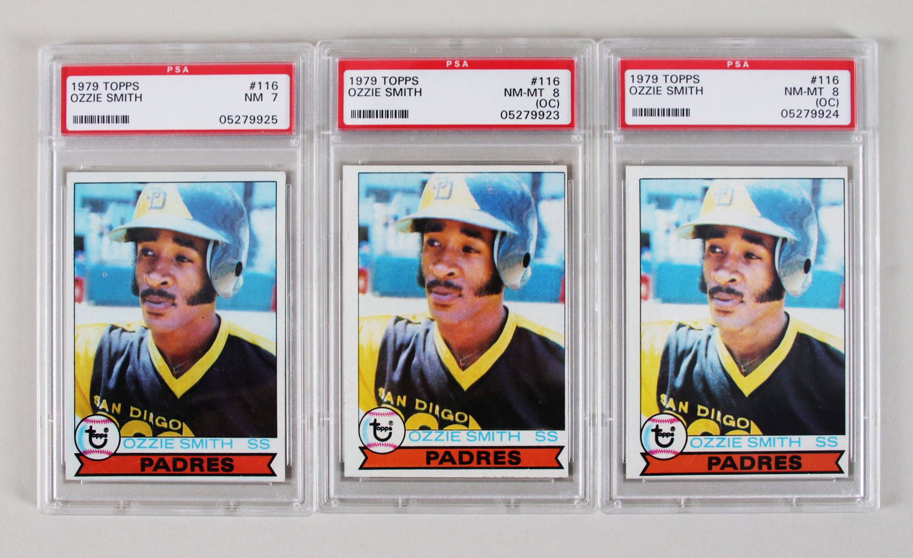 1979 Topps Ozzie Smith Rc Card 116 Lot 3 Graded Psa