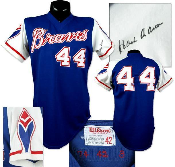 100% authentic ec4d9 5d40b 1974 Hank Aaron Game-Used Braves Jersey, Signed.