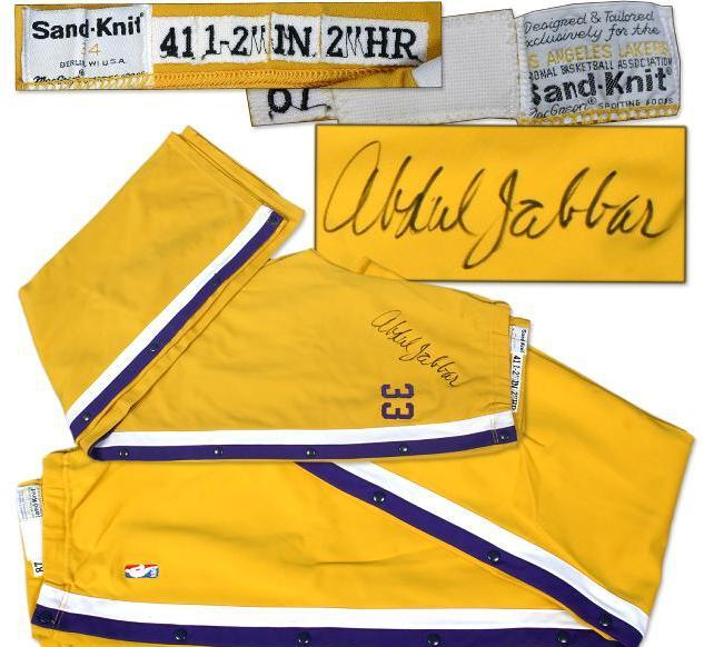 b618e711983 1987-88 Kareem Abdul-Jabbar Game Worn Signed Warm-up Pants | Memorabilia  Expert