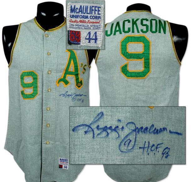 sports shoes 400b5 3b99b 1969 Reggie Jackson Game-Used Green Mist Oakland A's Jersey, Signed.