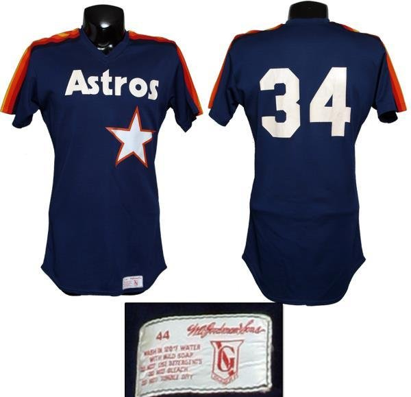 competitive price a73dd d8829 Nolan Ryan Game-Worn Astros Rainbow Warm-Up Jersey