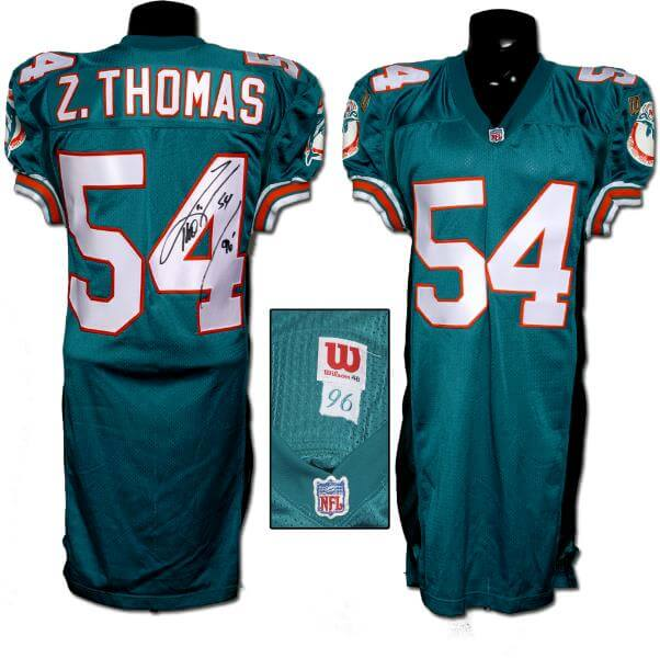 separation shoes d932a 4ca3d 1996 Zach Thomas Game-Issued, Signed Rookie Jersey