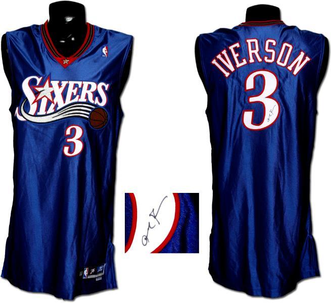meet c5e41 c79c4 2003-04 Allen Iverson Game-Worn, Signed Sixers Alternate Jersey