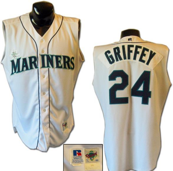 super popular b004b 1a968 1996 Ken Griffey Jr. Game-Worn Mariners Vest Jersey