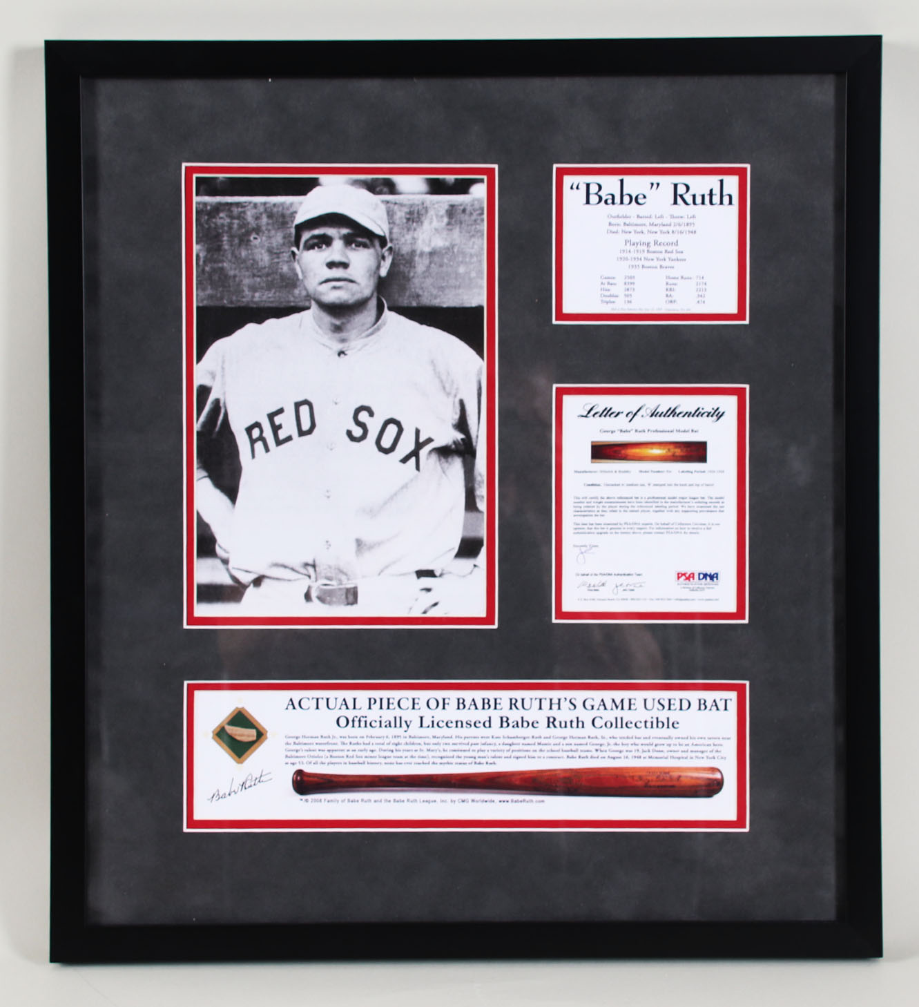 Babe Ruth Game-Used Baseball Bat Display Red Sox