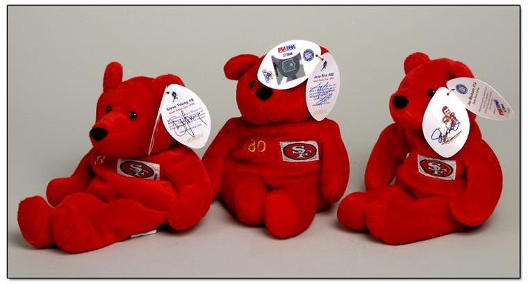 Set of Three Beanie Babies Signed By Rice, Montana, Young