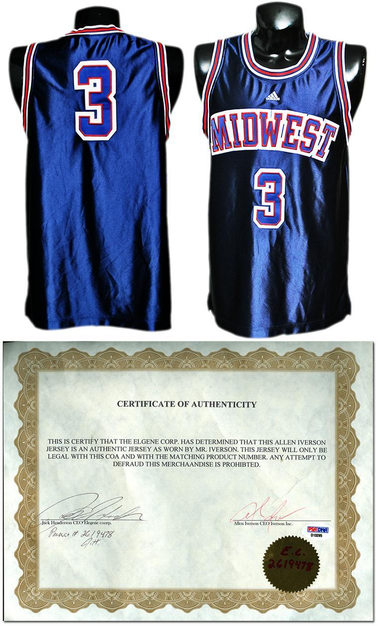 new styles 52f5b 74612 Allen Iverson Game-Worn High School All-Star Game Jersey w/Iverson Signed  Letter