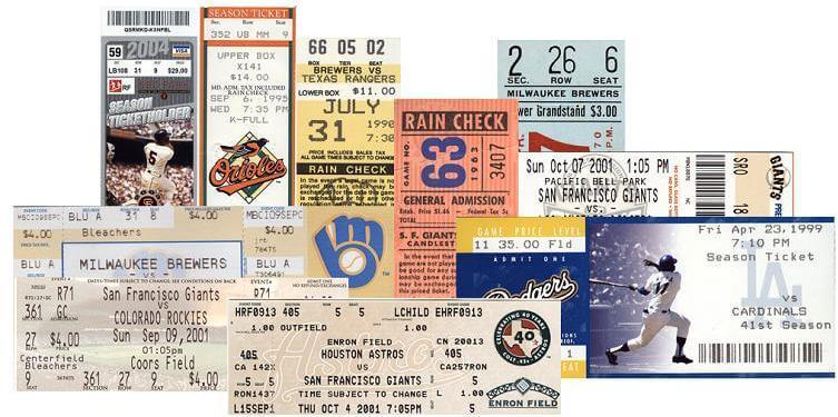 Eleven MLB Milestone Game Tickets (Bonds, Jackson, Maddux, Mays, Ripken)