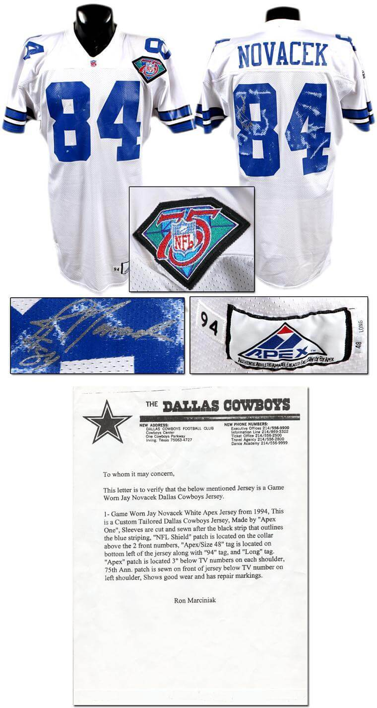 get cheap 0bb7d 08c98 1994 Jay Novacek Game-Worn, Signed Cowboys Jersey (w/Team LOA)