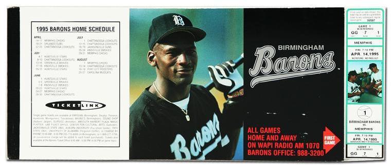 1995 Michael Jordan Birmingham Barons Unused Season Full Tickets