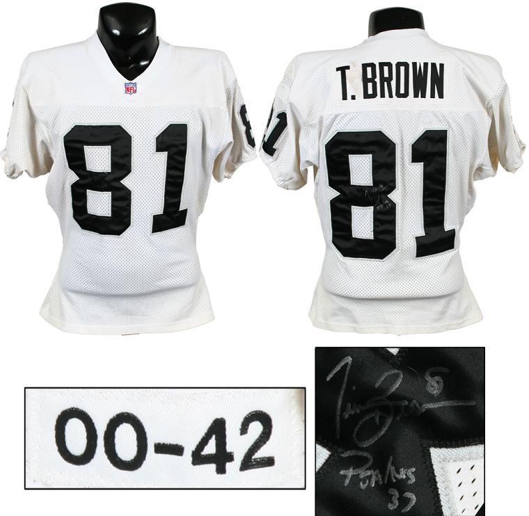 big sale 7b63e 37df9 2000 Tim Brown Game-Worn, Signed Raiders Jersey