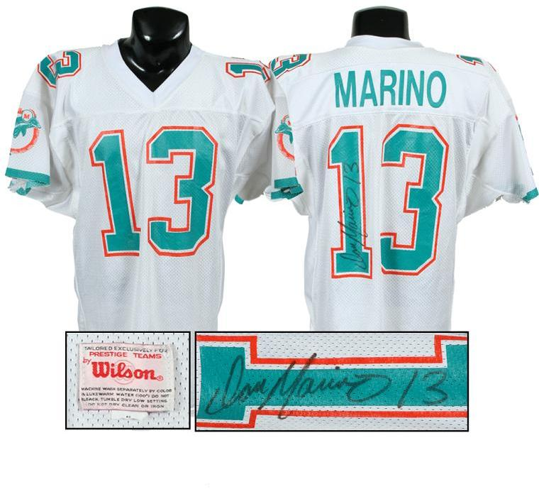 best website c4f9a c2a33 1989 Dan Marino Game-Worn, Signed Dolphins Jersey