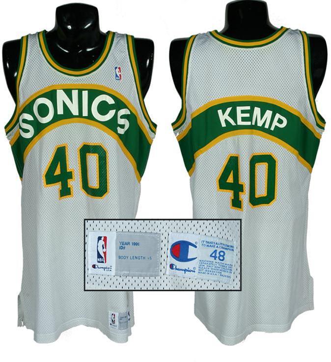 watch 236f7 580f4 1991 Shawn Kemp Game-Worn Sonics Jersey
