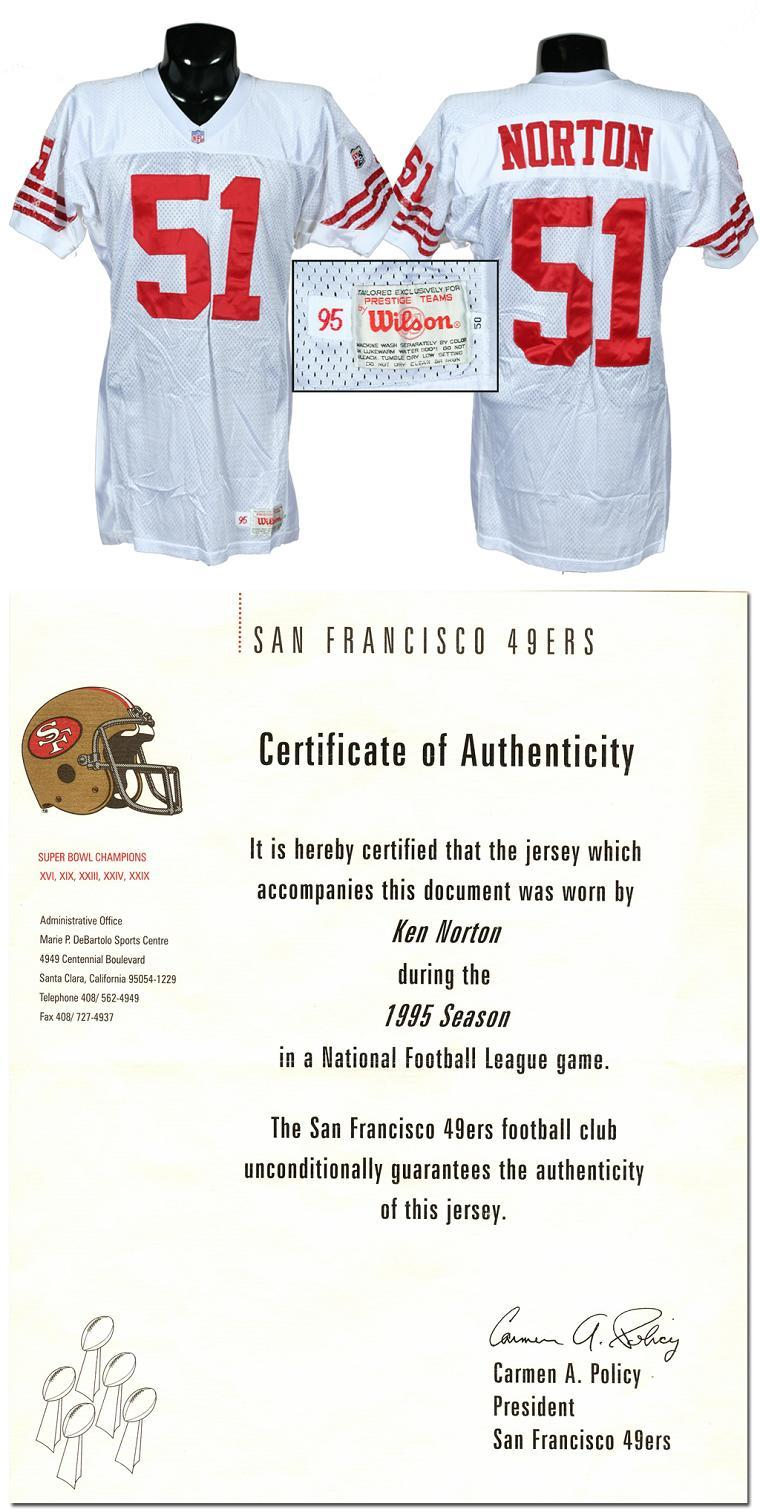 brand new 3743b 5a819 1995 Ken Norton Jr. Game-Used 49ers Jersey (w/Team Letter)