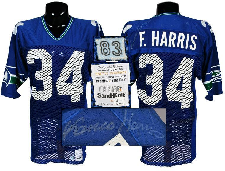finest selection 1db03 6576d 1984 Franco Harris Game-Worn, Signed Seahawks Jersey
