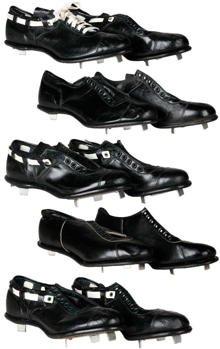Collection of 5 Pairs of Vintage '50s and '60s Riddell Baseball Spikes