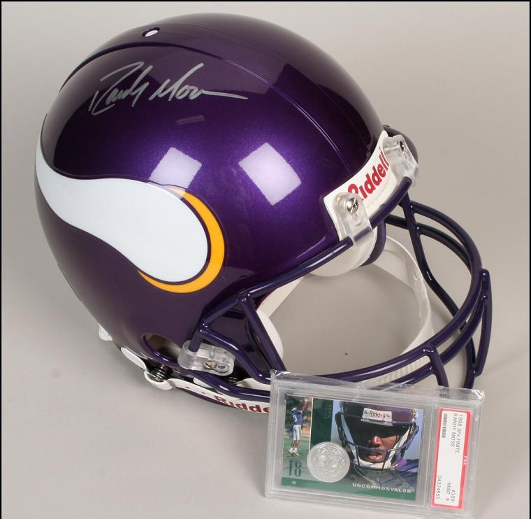 sports shoes ad836 8bd29 Randy Moss Autographed FS Vikings Helmet and Unsigned Graded MINT 9 Rookie