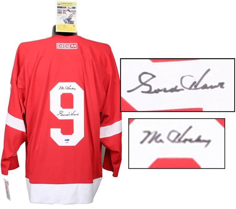 buy popular 9a041 b1ef9 Gordie Howe Signed Detroit Red Wings Jersey and Darren Pupa Signed Postcard