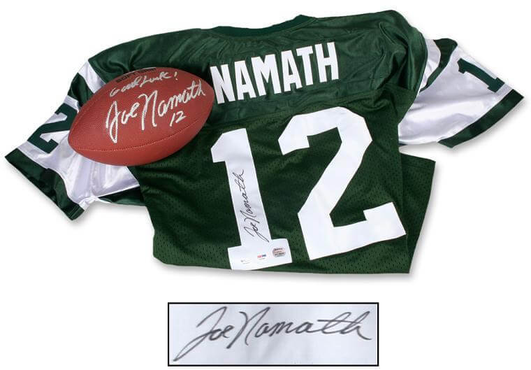 new concept df7af 56f88 Joe Namath Autographed Jersey (PSA/DNA - Mounted Memories) & Autographed  Football Inscribed