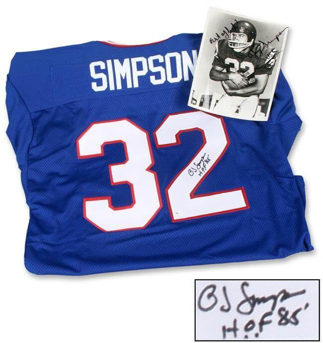 newest dda1c d5bed O.J. Simpson Signed Jersey and Signed (Vintage) Wire Photo, Inscribed