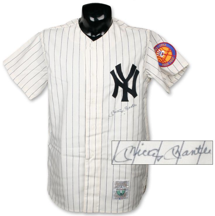 buy online f531d 6f199 Mickey Mantle Signed Mitchell & Ness Jersey (w/1952 Yankees Anniversary  Patch)