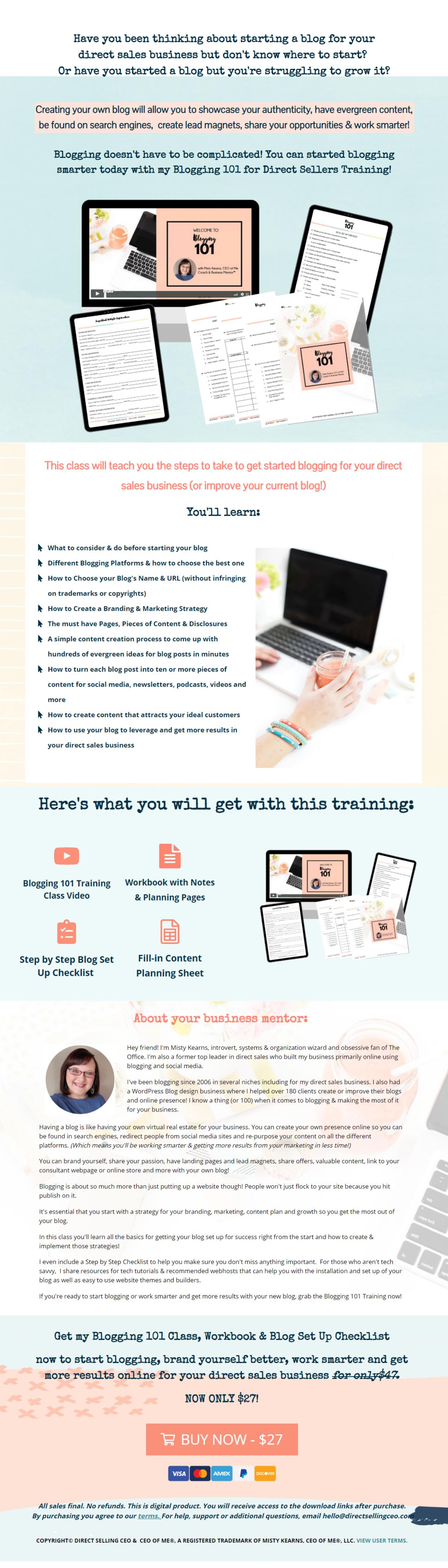 Blogging 101 Sales Page