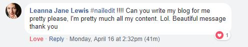 Client testimonial that says we nailed it and can we please write all her content for her