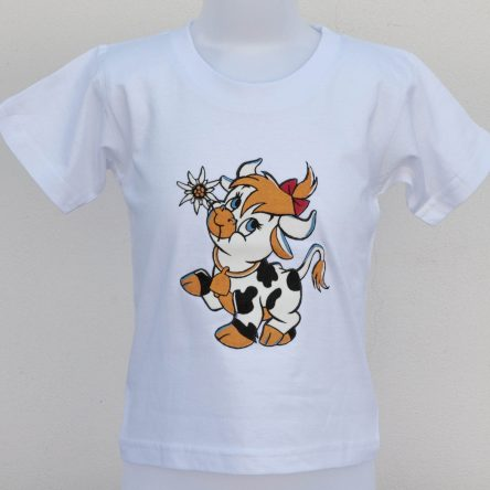 "KIDS T-SHIRT ""COW WITH EDELWEISS FLOWERS IN ITS MOUTH"" – IN 2 COLORS"