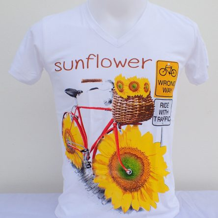 "KIDS T-SHIRT WITH ""SUNFLOWER BICYCLE"" MOTIF"